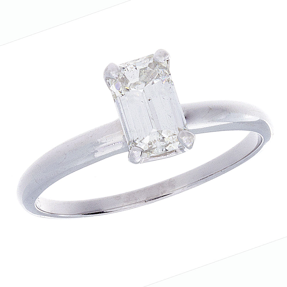 "This 14 karat white gold solitaire ring features a .95 carat Yehuda, clarity enhanced, emerald cut diamond.  H color, I1 clarity, C cutting<br><br>The diamonds we enhance are dug from the same diamond mines as those sold by every other diamond company. Our proprietary technology allows us to make certain types of inclusions within a diamond disappear so that they are no longer visible to the naked eye.  Since our proprietary process allows us to make certain types of inclusions invisible, we are able to cut a much larger diamond than any other company. All of that extra size, weight and beauty are yours at no extra cost.  Yehuda inserts a microscopic amount of a proprietary substance into the inclusion, making it completely invisible to the naked eye. This unique material has the same optical properties as the diamond, so that light can now pass through the inclusion. The amount of material we use is so extraordinarily small that our competitors have never been able to extract it, study it, or copy it.  The type of diamond inclusion called a ""feather"" is the only one we can make disappear. Although the ""feather"" is still there, you can not see it and neither can anyone else, not even a jeweler. The treatment can be reversed only by strong acids, bases or a jeweler's torch. In the extremely unlikely event that this would ever happen, we'll be happy to re-enhance the diamond at no extra cost."