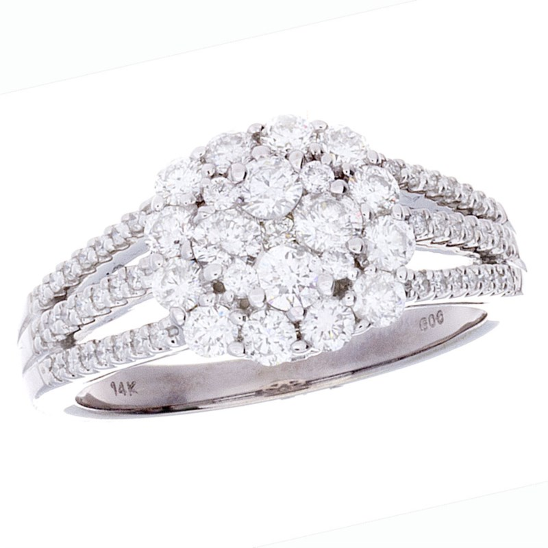 Round Cluster Halo Diamond Engagement Ring by Gems One