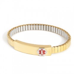 LADIES' GOLD PLATED MEDILOG ID BRACELET WITH COMPARTMENT PLAQUE & EXPANSION BAND