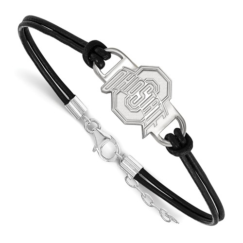 SS LOGOART OHIO STATE UNIVERSITY SMALL CENTER LEATHER BRACELET