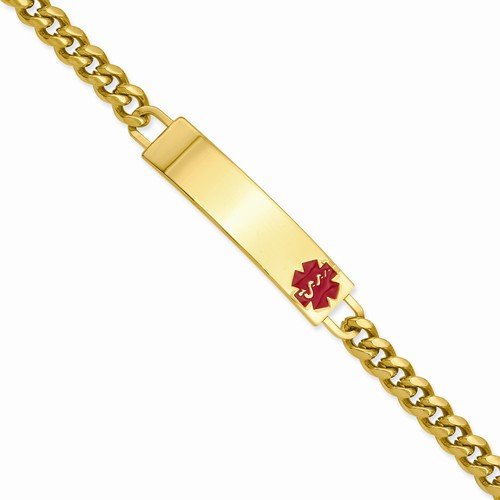 "This stainless steel/yellow pvd plated medical ID bracelet from Kelly Waters measures 7"", and features a flat plaque with a red enamel symbol with space to engrave necessary medical information."
