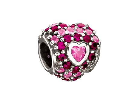 Jeweled Heart in Heart - Pink CZ by Chamilia