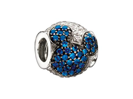 Jeweled Mickey Mouse Chamilia Bead - Blue & Clear CZ Chamilia Bead by Chamilia