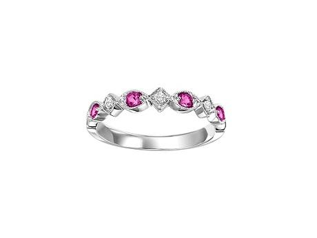 FR1043: Stackable Ruby July White Gold Birthstone Ring by Loveables