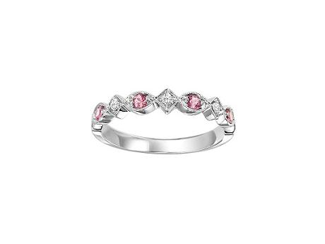 Loveables Pink Tourmaline White Gold Stackable Ring Mother by Loveables