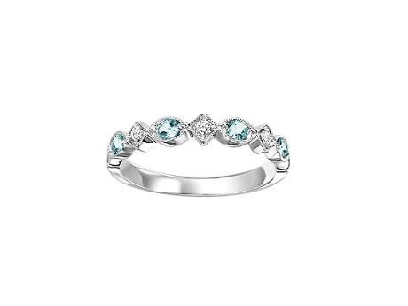 Loveables Blue Topaz Birthstone Gemstone White Gold Mothers Ring by Loveables