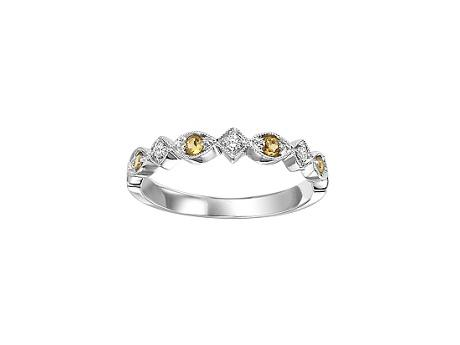 10K White Gold Citrine November Birthstone Stackable Ring by Loveables