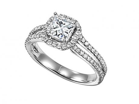 Halo Princess Cut Engagement Ring by Bridal Bells